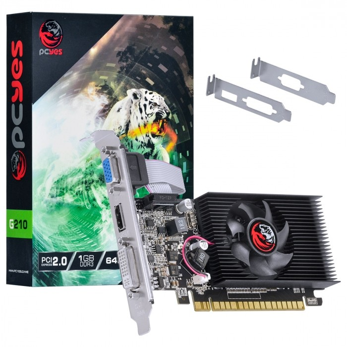 PLACA DE VIDEO NVIDIA GEFORCE G 210 1GB DDR3 64 BITS COM KIT LOW PROFILE SINGLE FAN - PA210G6401D3LP - PCYES