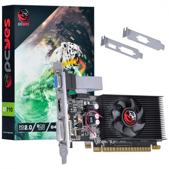 PLACA DE VIDEO NVIDIA GEFORCE GT 710 2GB DDR3 64 BITS COM KIT LOW PROFILE SINGLE FAN - PA710GT6402D3LP