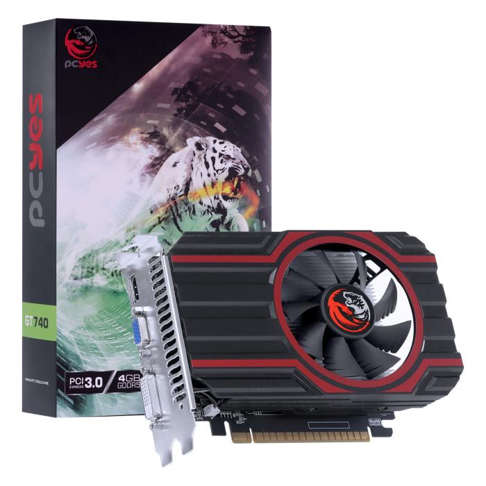 PLACA DE VIDEO NVIDIA GEFORCE GT 740 GDD5 4GB 128BIT SINGLE FAN - FULL SIZE - PA740GT12804D5FZ