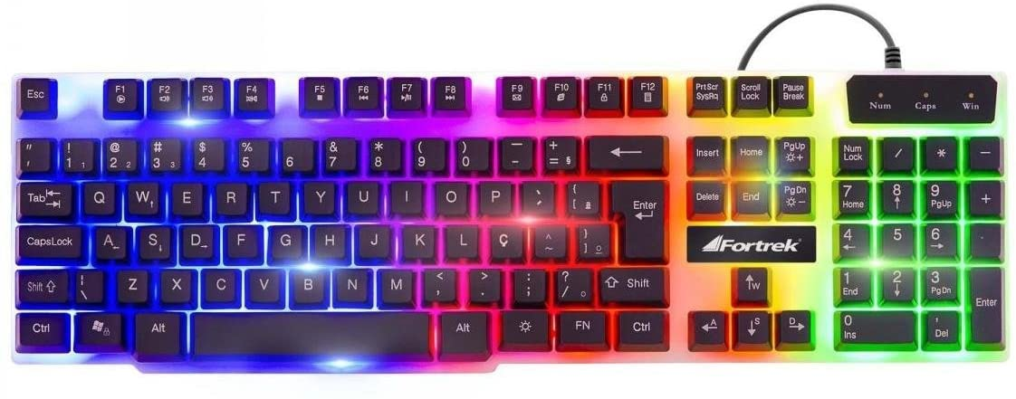 Teclado Gamer Multimídia CHROMATIC GK-710 Preto com LED Colorido FORTREK