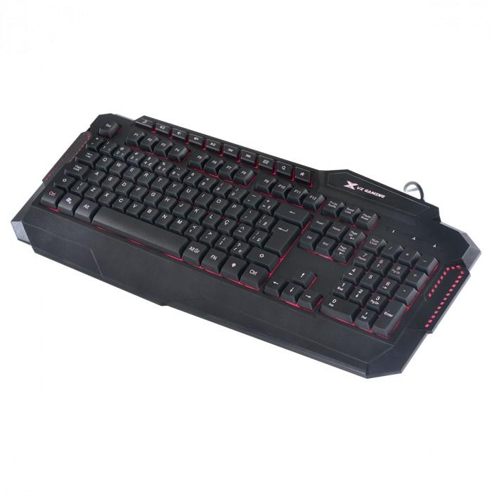 TECLADO USB GAMER VX GAMING HERCULES COM MULTIMIDIA LED 3 CORES CABO USB 1.8 METROS ABNT2 PRETO - GT200