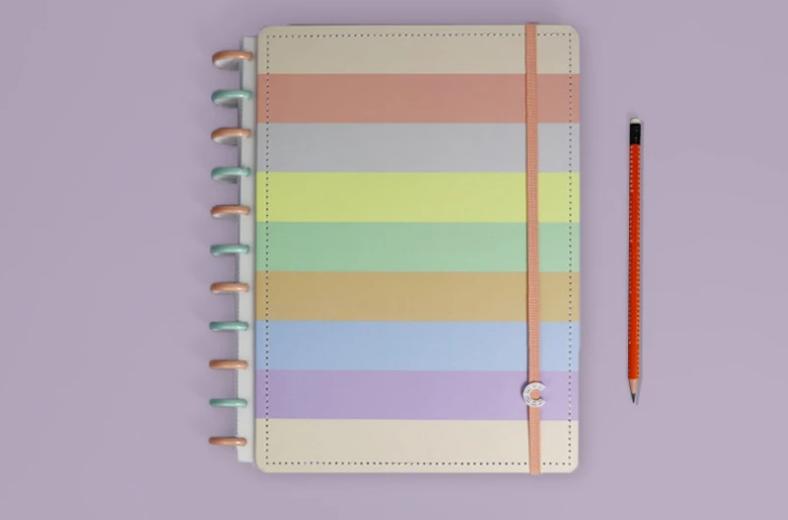 Caderno Inteligente G+ Arco-íris Pastel 140 fls