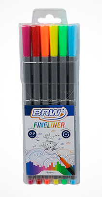 Caneta Fineliner 0.4mm 6 cores