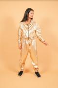 Calça Baggy Metalizada Dourada