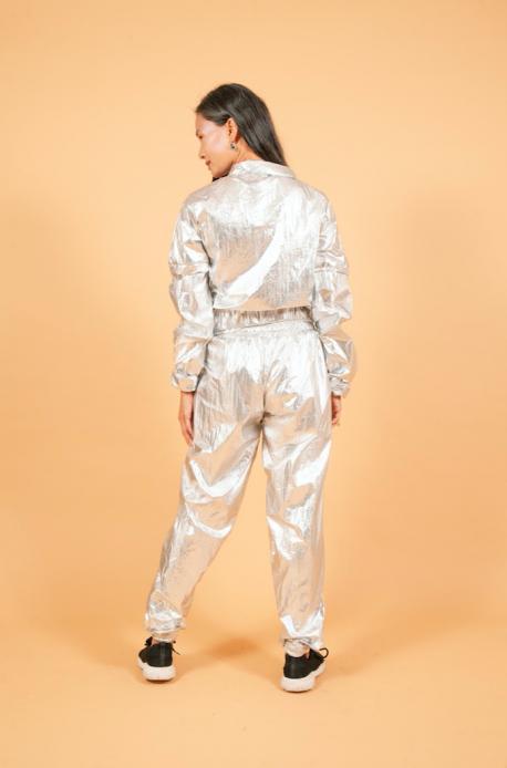 Calça Baggy Metalizada Prata
