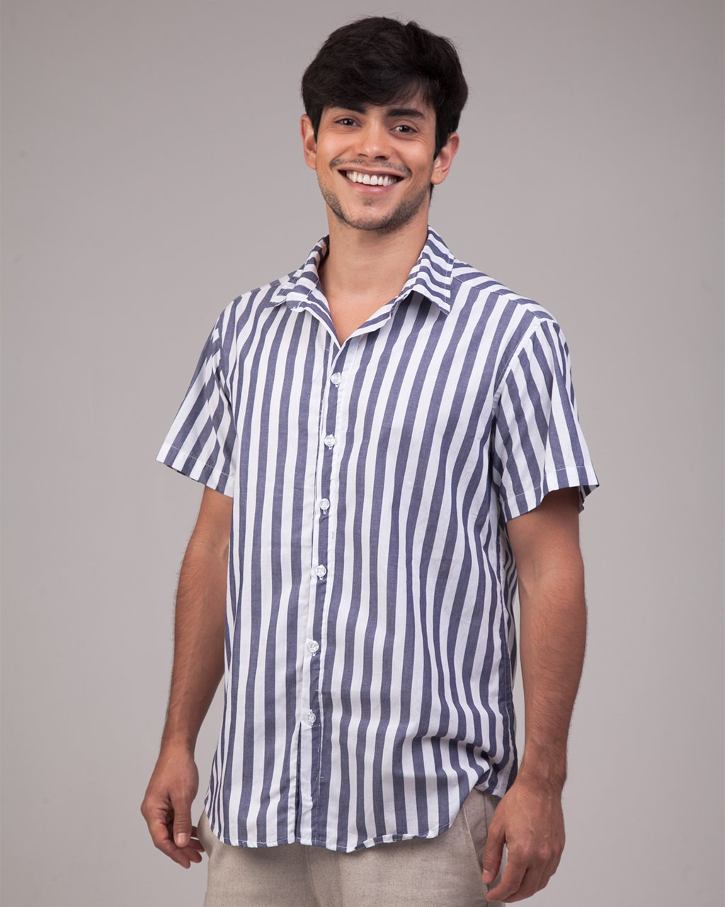 Camisa Manga Curta Listra Azul