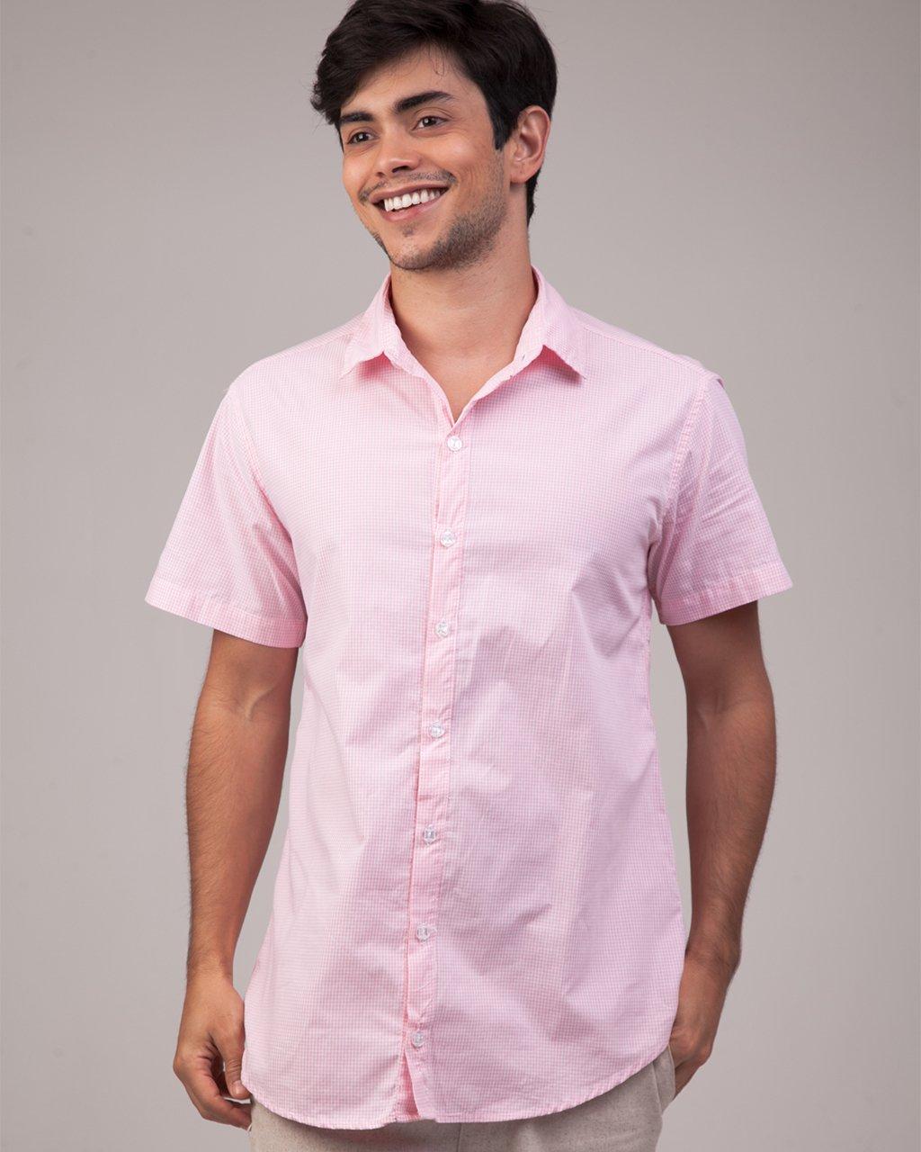 Camisa Manga Curta Mini Xadrez Grid