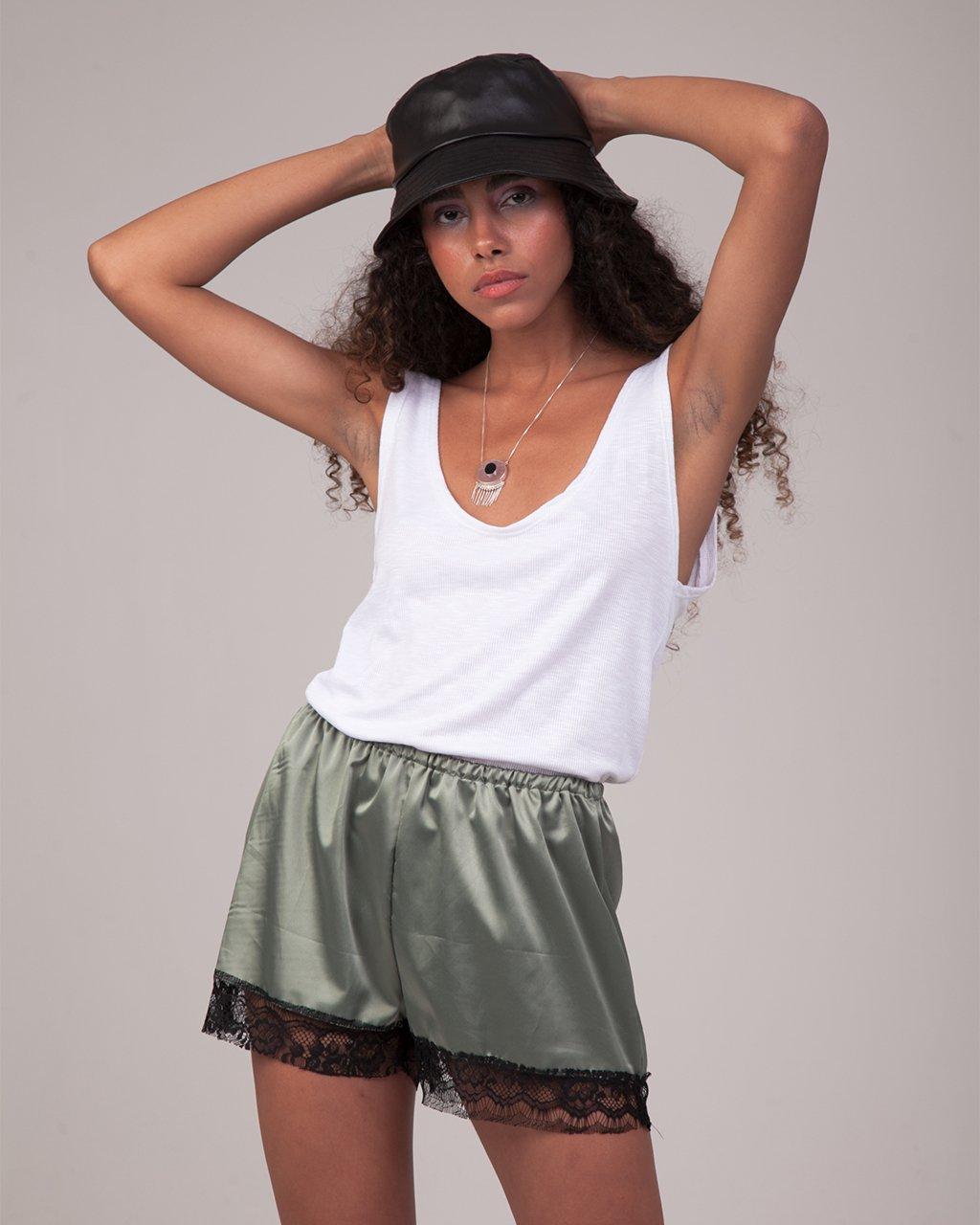 Short Pijama Cetim com Renda
