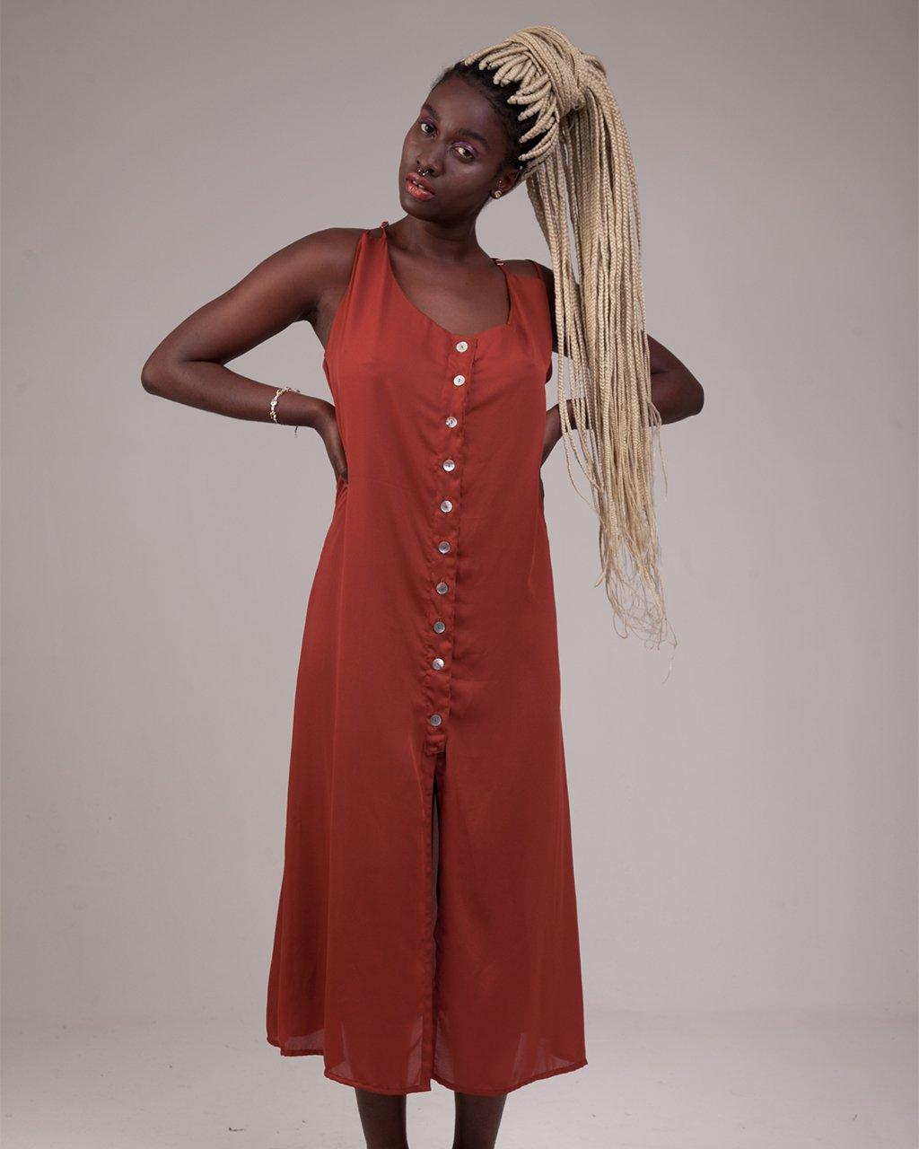 Vestido Midi Fenda Frontal
