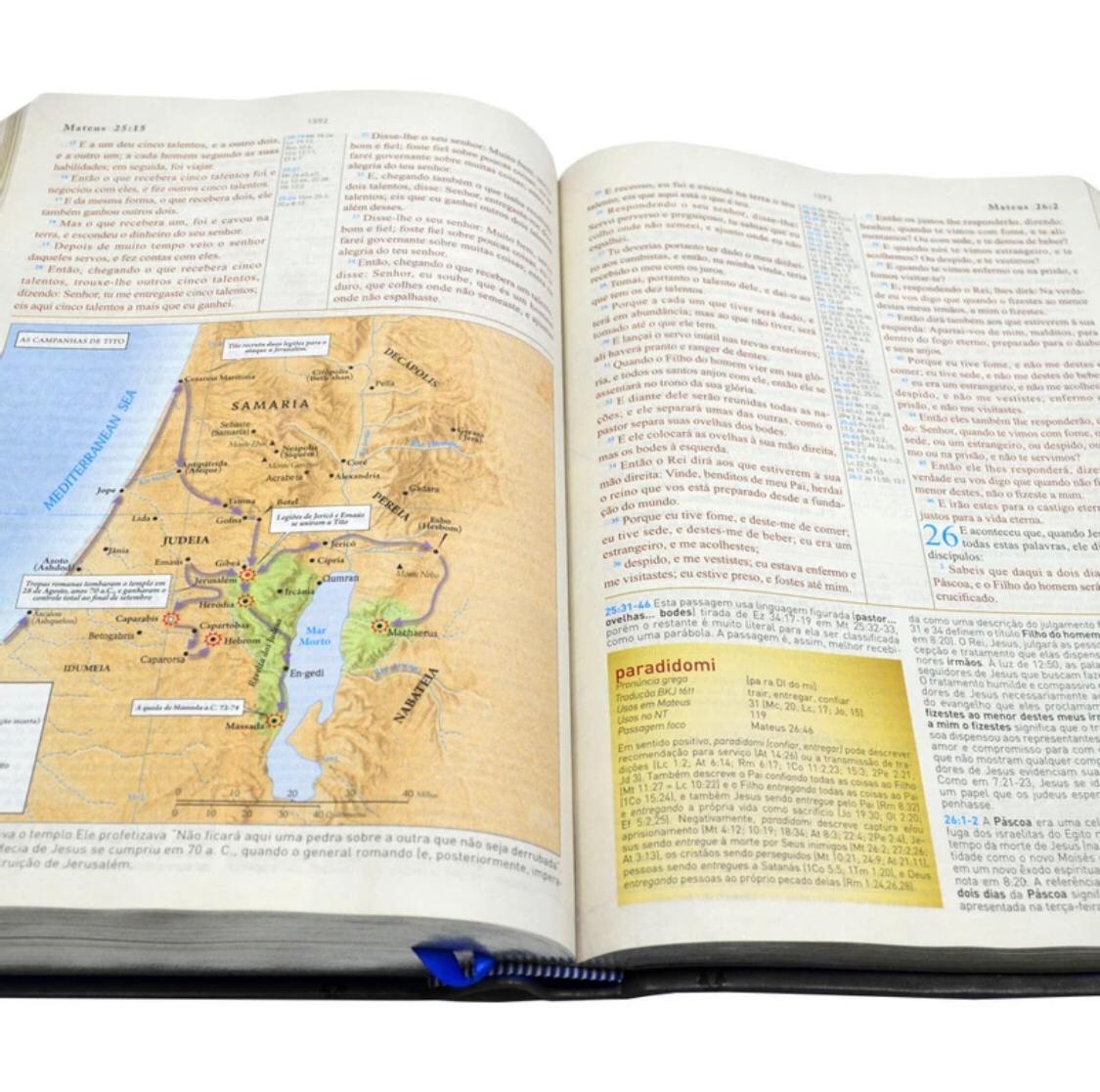 Bíblia King James 1611 Com Estudo Holman BKJ Preta e Marrom