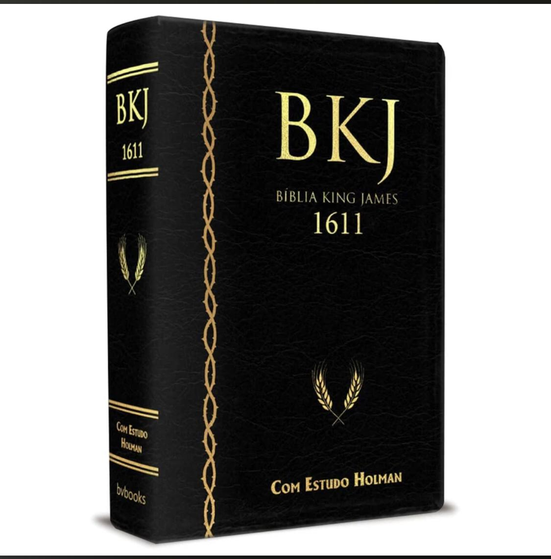 Bíblia King James 1611 Com Estudo Holman BKJ Preta Luxo