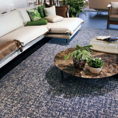 Tapete Fujimoto Riviera | Living Quarto Home Sala de Estar Jantar TV Corredor Personalizado Sob Medida Antialérgico Nylon Abstrato Azul