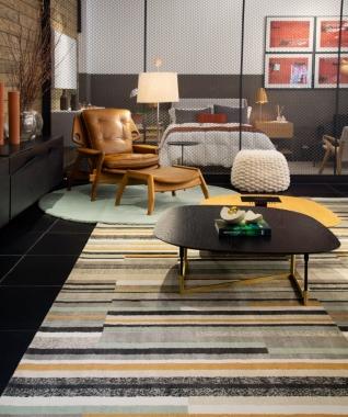 Tapete Gunta Beluga | Living Quarto Home Sala de Estar Jantar TV Corredor Personalizado Sob Medida Antialérgico Nylon Listrado Cinza