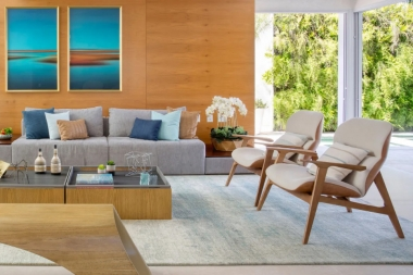 Tapete La Digue Almond | Living Quarto Home Sala de Estar Jantar TV Corredor Personalizado Sob Medida Antialérgico Nylon Abstrato Azul