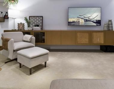 Tapete Liso DTC Concreto | Living Quarto Home Sala de Estar Jantar TV Corredor Personalizado Sob Medida Antialérgico Nylon Bege