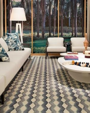 Tapete New Degradee | Living Quarto Home Sala de Estar Jantar TV Corredor Personalizado Sob Medida Antialérgico Nylon Geométrico Azul