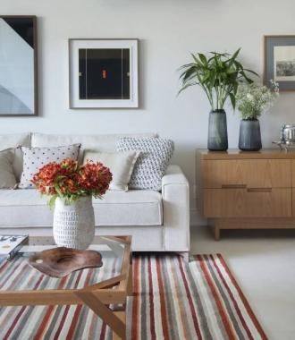 Tapete New Frevo Mandarim | Living Quarto Home Sala de Estar Jantar TV Corredor Personalizado Sob Medida Antialérgico Nylon Listrado Vermelho