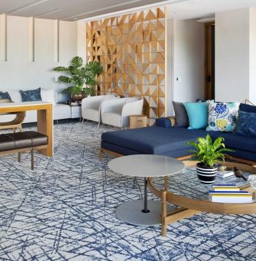 Tapete Renzo Riviera | Living Quarto Home Sala de Estar Jantar TV Corredor Personalizado Sob Medida Antialérgico Nylon Gráfico Azul