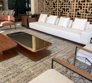 Tapete Tamascheck Nude | Living Quarto Home Sala de Estar Jantar TV Corredor Personalizado Sob Medida Antialérgico Nylon Texturado Cinza