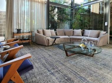Tapete Tamascheck Silver | Living Quarto Home Sala de Estar Jantar TV Corredor Personalizado Sob Medida Antialérgico Nylon Texturado Azul