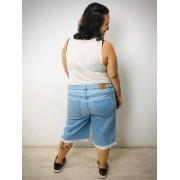 Bermuda Jeans Plus Size Básica Delavé