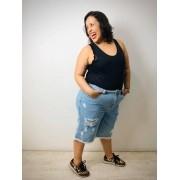Bermuda Jeans Plus Size Destroyed Delavé