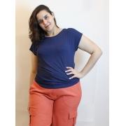 Blusa Baby Look Básica Com Decote Canoa Plus Size
