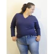 Blusa básica De Malha Com Decote V Plus Size