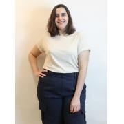Blusa Básica Listrada Com Lurex Dourado Plus Size