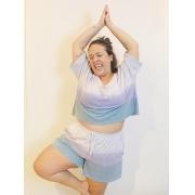 Blusa Cropped Tie Dye de Algodão Plus Size