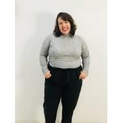 Blusa de Tricô Plus Size com Gola Alta
