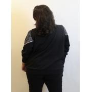 Blusa Oversized Xadrez Vichy Preto e Branco Plus Size