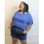 Blusa Oversized em Malha Podrinha com Recortes Plus Size