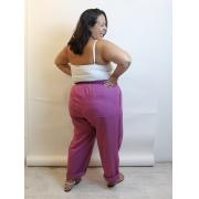 Calça De Linho Reta Com Recortes Plus Size