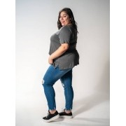 Calça Jeans Plus Size Super Skinny Destroyed