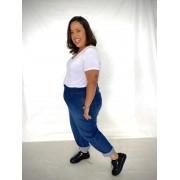 Calça Jeans Slouchy com Pregas Plus Size Dark