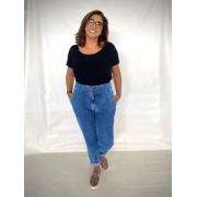 Calça Jeans Slouchy com Pregas Plus Size Marmorizada