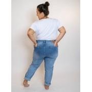 Calça Mom Jeans Plus Size Delavé com Botões