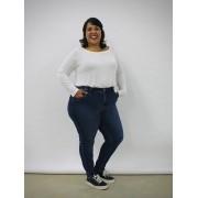 Calça Skinny Jeans Plus Size High Waisted Blue Jeans
