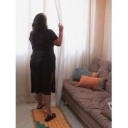 Camisola Longa com Fendas Laterais Calvin Klein Plus Size - Preta