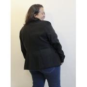 Casaco de  Lã Batida Preto Plus Size