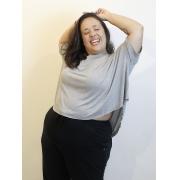 Cropped Decote Redondo Malha Podrinha Plus Size