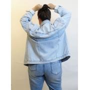 Jaqueta Jeans Oversized Delavé Plus Size