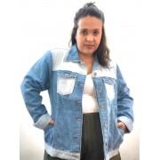 Jaqueta Jeans Patchwork Plus Size