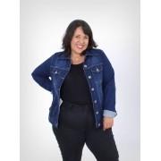 Jaqueta Jeans Plus Size Básica Dark