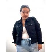 Jaqueta Jeans Preta Plus Size Cropped