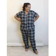 Pijama Xadrez Com Botões Plus Size