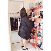 Robe Kimono Viscolight e Renda Calvin Klein Plus Size - Preto