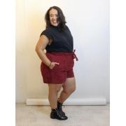 Short de Veludo com corte de Alfaitaria Plus Size