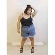 Short Jeans Clochard Plus Size Básico Blue